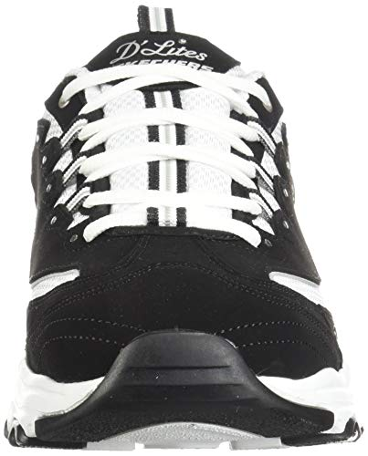 Skechers womens D'lites - Biggest Fan Fashion Sneaker, Black/White, 9 Wide US Indiana