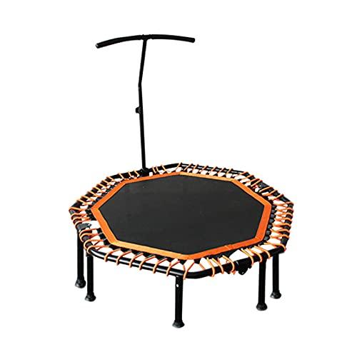 Trampolín, Cama Elástica Fitness Trampolín Plegable trampolín reboteador de 48' para Entrenamiento de Interior y Jardín Peso Máximo 100 kg,Naranja,with armrests