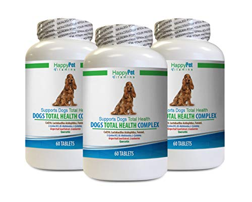 HAPPY PET VITAMINS LLC Dog itching Skin Relief Pills - Dogs Total Health Complex - Natural - Best Hair Coat Immune Eye Teeth UTI Health - max Cranberry for Dogs - 3 Bottles (180 Treats)