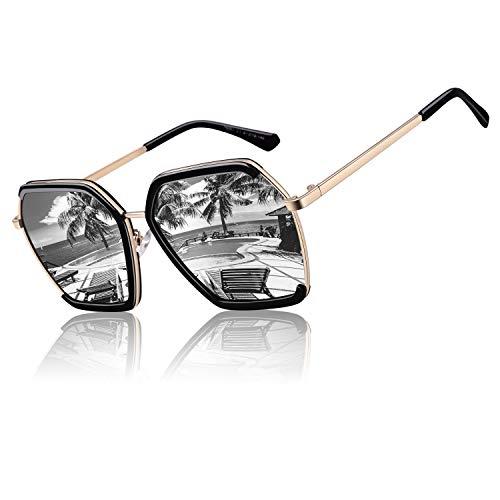 CGID Gafas de sol polarizadas cuadradas de gran tamaño clásicas para mujer Retro Gafas 100% UV400 Con Sombra Marco Negro Lente Plata M51