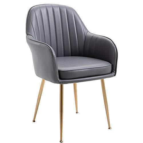 LJFYXZ Sillas de Comedor Cuero PU sillón Silla de Escritorio con cojín Patas de Metal Dorado Silla de Ordenador para el hogar Capacidad de Carga 150 kg 44x45x84cm (Color : Gray)