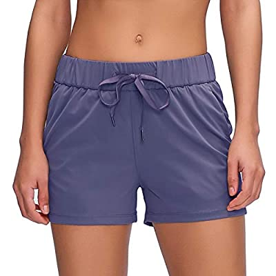 """Willit Women's Yoga Lounge Shorts Comfy Active Running Shorts Casual Workout Hiking Shorts Pockets 2.5"""" Denim Blue L"""