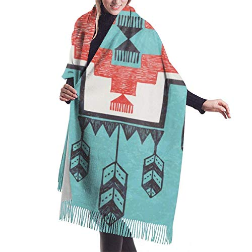 Fendy-Shop Bufanda de cachemir de aves folclóricas aztecas nativas étnicas para mujeres hombres ligeras unisex bufandas de invierno suaves chal con flecos