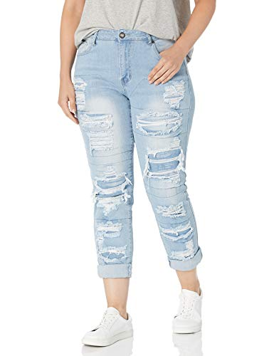 COVER GIRL High Waisted Cute Ripped Patched Repair Skinny Juniors, Light Blue, 7