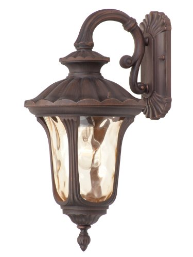 Livex Lighting 7653-58 Oxford 1 Light Imperial Bronze Cast Aluminum Wall Lantern with Light Amber Water Glass