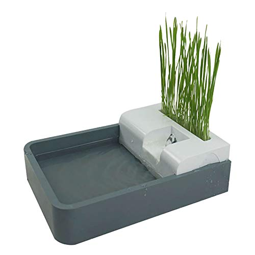 Pet cat Water Dispenser, cat Grass hydroponics, Automatic Circulation, Multiple Filtration, Double Layer Waterproof, Power Failure protectio/Gray / 1.8L