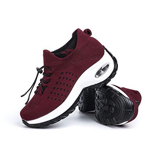 Sneakers Damen Turnschuhe Laufschuhe Sportschuhe Frauen Air Knit Mesh Atmungsaktive Leichte Gym Fitness Bequem Schuhe Rot Größe 40