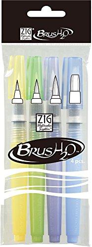 Kuretake Water Brush pens 4 Set, for Watercolor, fine Art, Illustration, Lettering, Drawing, Beginner (4 Sizes Set)