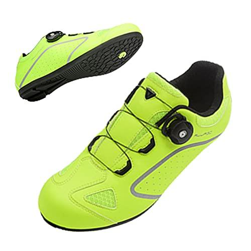 ASORT Calzado de Ciclismo Antideslizante,Zapatos de Bicicleta de Montaña y Carretera Sin Bloqueo para Hombres y Mujeres, Zapatos de Montar con Suela de Goma,Green-44EU