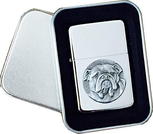 Echt nuttige geschenken Chrome Star aansteker met Pewter Britse Bulldog hond embleem, compleet met metalen geschenkblikje