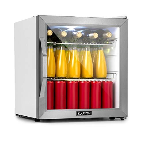 Klarstein Beersafe L Crystal White Refrigerator w/Glass Door - Mini Fridge, Mini Bar, Cooler, 47 litres Capacity, 42 dB, LED Interior Lighting, 2 Metal Grids, Stainless Steel Frame, White