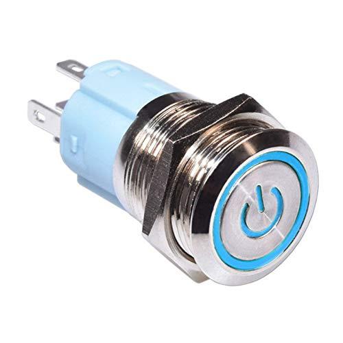 Interruptor giratorio 16 mm auto auto bloqueo impermeable impermeable pulsador de potencia de metal con luz LED 12V 24V 220V en OFF 5 PIN Fijación de enganchamiento ( Color : Blue , Voltage : 12V )