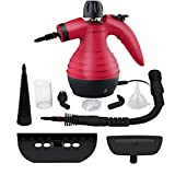 Handheld Steam Cleaner by Comforday - Multi-Purpose Pressurized Steam Cleaner with Safety Lock for Stain Removal, Carpet and Upholstery Cleaning - 9-Piece Accessory Kit Included (Upgrade) (red)
