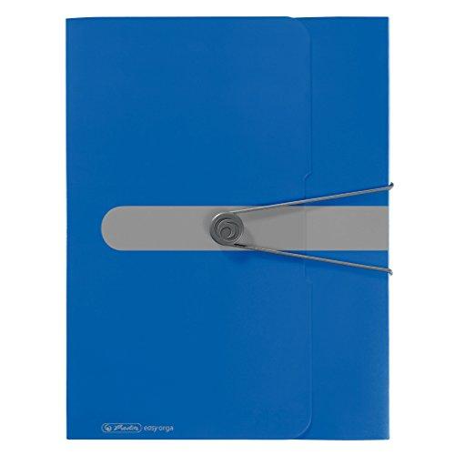 Herlitz Sammelbox A4 PP mit Rückenetikett, 1 Stück mit Design-Aufdruck, Rückenbreite 4 cm, opak blau