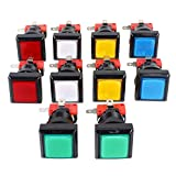 EG Starts 10x Arcade Square Shape LED Illuminated Push Button With Micro Switch...