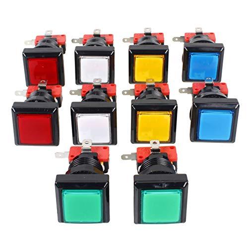 10x Arcade forma cuadrada botón luminoso LED con micro switch En la arcada de la máquina de juego consolas de videojuegos Jamma kit de piezas de la lámpara 12V 33mm Botones