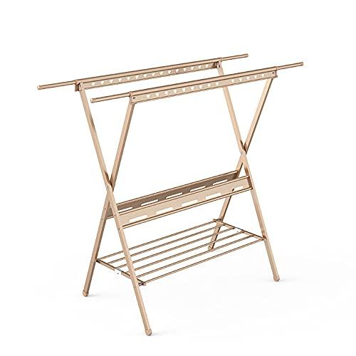 WANGTX Perchero, tendedero plegable, perchero de doble polo, perchero para ropa de cama, tendedero para balcón doméstico/Gold / 120x50x140cm