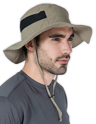 Fishing & Hiking Boonie Sun Hat for Men & Women - UV Protection Wide Brim Bucket Hat - Outdoor Safari Summer Cap - UPF 50+ Dark Khaki