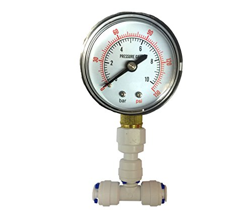 The Water Filter Men Pressure Gauge For Aquarium Ro Reverse Osmosis System With 1/4 by The Water Filter Men