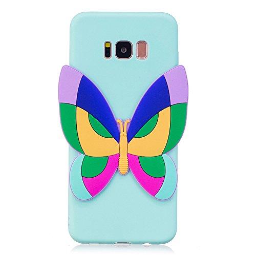 Samsung Galaxy S8 Plus 対応 可愛い ケース、 Crazylemon おしゃれ 柔らかい TPU シリコン ブルー ケース 大きい蝶々 動物 絵柄 パッチ 付き ギャラクシーs8plus ソフトケース 衝撃吸収 全面保護 - 柄13