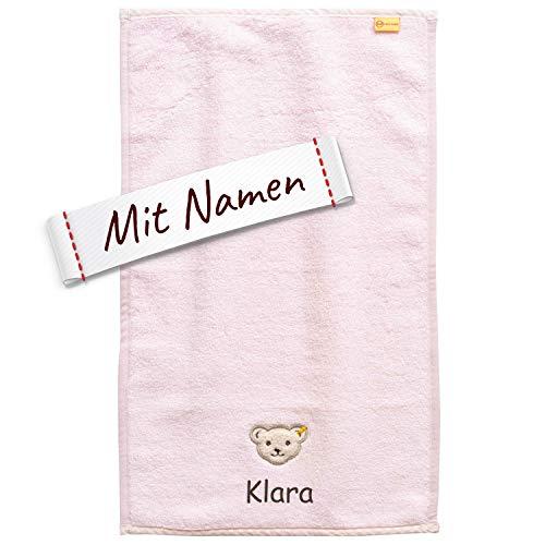 LALALO Steiff Kinder & Baby Handtuch Bestickt mit Namen, Mädchen, Rosa, Frottee Kinderhandtuch personalisiert, Zierkante (50x100 cm Bade Handtuch)