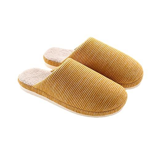 LZHi1 Womens Cozy Coral Fleece Futterhaus Hausschuhe Winter Indoor Warme Home Schuhe rutschfeste Plattform Hausschuhe Hotel Guest Slip Auf Flauschigen Pelz-Hausschuhen(Size:37/38,Color:Gelb)