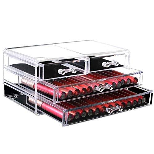 ZIEO Organisateur de Maquillage Organisateur cosmétique Acrylique Clair avec la boîte de présentation cosmétique de Bijoux de Maquillage de boîte de Rangement pour Coiffeuse ou Salle de Bains