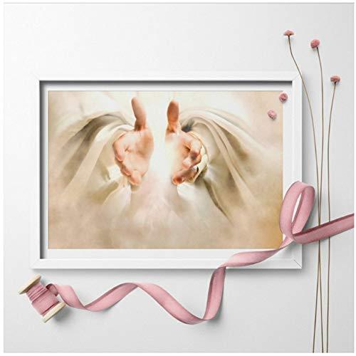 xiongda Gott offene Hände Plakate und Drucke Wandkunst Jesus Christus Wunder Gebet Leinwand Malerei Kunst Wandbild Wohnkultur -40X60cm Kein Rahmen