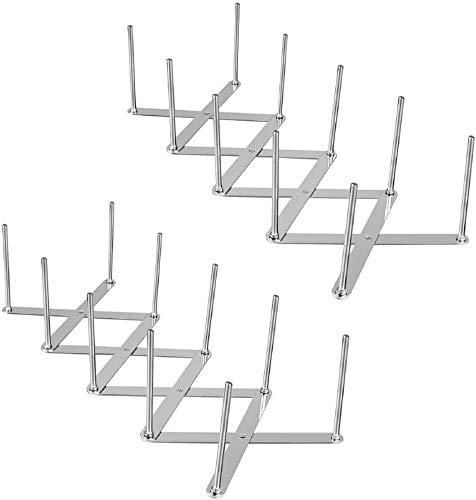 Hxcomet 2er Set Deckelhalter Rippchenhalter aus Edelstahl, Verstellbarer Spareribs-Halter, Multifunktionales Teleskoplagerregal Dämpfer Abtropfgestell,4-Slot-GeschirrhalterZubehör für Küchen und Grill