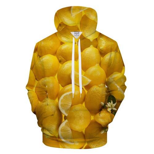 Pull Unisexe Pull 3D imprimé Chemise à Capuche Chaude et Respirante Sweat Pull à Manches Longues Motif Unique Citron