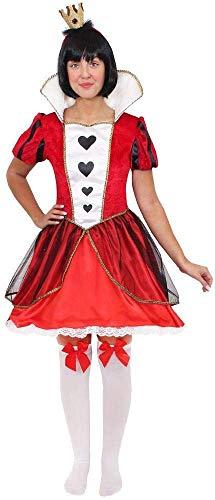Disfraz de reina de corazones para mujer para el día mundial del libro/semana del libro. Disfraz de Reina de Corazones de Alicia + corona + medias + peluca (Pequeño)