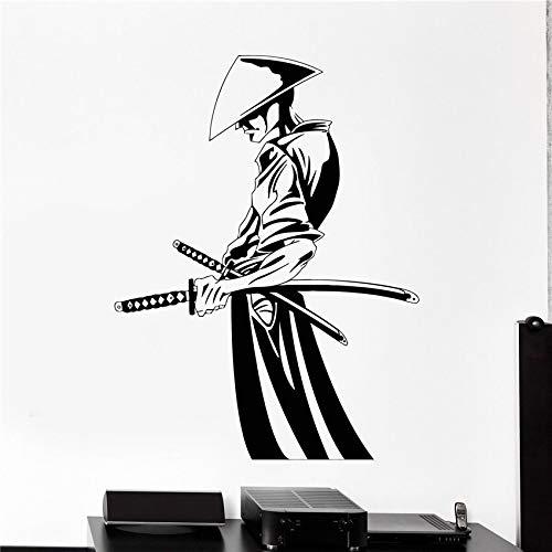 hetingyue Art Deco Vinyl Wandtattoo Samurai und Schwert Japan Quote Wandaufkleber Vinyl Dekoration Poster Wandbild 104x77 cm