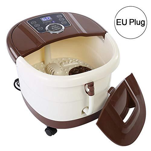 Fußmassagegerät Elektrisch mit Wärmefunktion Shiatsu Fussmassage mit automatisch Massage Rad, Fußbad Spa elektrisch Fußbecken, Kaffeebraun 220v (EU)