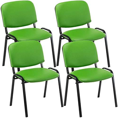4er Set Besucherstuhl Kunstleder mit Lehne Stapelstuhl Konferenzstuhl Stuhl (Color : Grün)