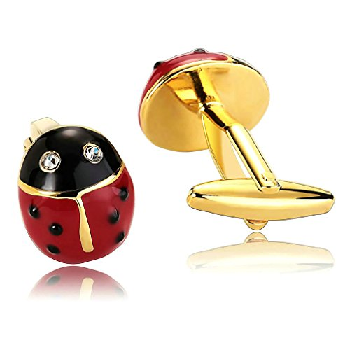 AnazoZ Bijoux de mode 1 paire de Homme Boutons de Manchette Acier Inoxydable Forme Coccinelle Cubic Zirconia couleur rouge noir boutons de manchette p