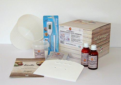 Kit Formaggio fatto in casa - Mozzarella Il kit contiene: 1 Termometro Digitale, 1 Taglia caglio, 4 Forma per Formaggio 15.5x5cm, 1 Caglio - 100ml, 1 Cloruro di Calcio - 100ml, 1 Sale Conf. 200 gr., Fermenti per Formaggio – Mozzarella