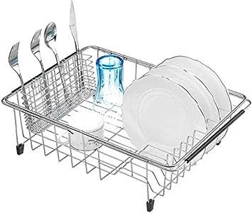 SANNO - Tendedero extensible con soporte para cubiertos de utensilios, escurreplatos en fregadero en el mostrador con soporte para cubiertos de utensilios, acero inoxidable inoxidable