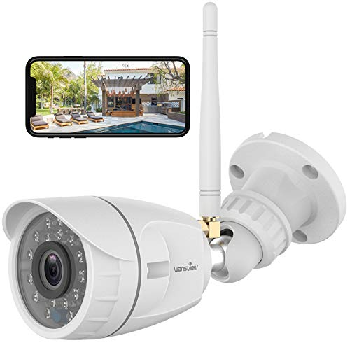 Outdoor Security Camera, Wansview 1080P Wireless WiFi Home Surveillance Waterproof Camera with Night Vision, Motion Detection, Remote Access, Compatible with Alexa-W4