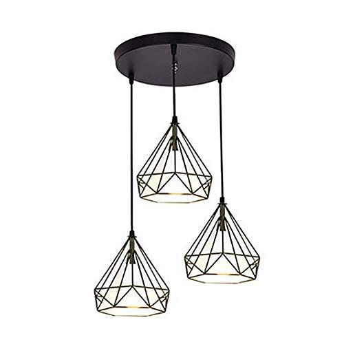 miwaimao Lámpara de techo con 3 luces de estilo industrial y moderno, vintage, con forma de jaula de diamante, con cuerda ajustable, para la cocina, B