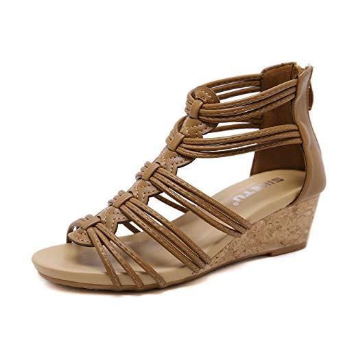 visionreast Damen Sandalen mit Keilabsatz Bequeme Frauen Open Toe Keilsandalen Keilsandaletten mit Reißverschluss hinten, Braun, 39 EU