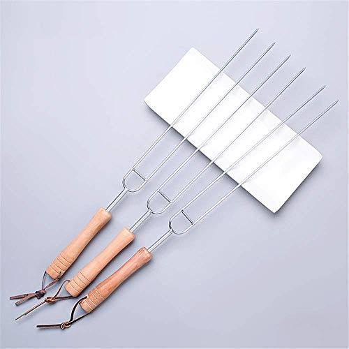 BJLWTQ Roasting Forks barbecue Sign Stainless Steel U-Type Roast Needle Chicken Wing Fork Lamb Kebab Iron Shank Wood Shank Baking Needle Home Accessories Tool