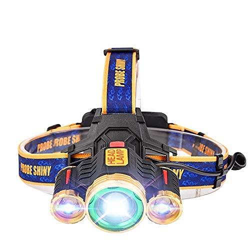 LED faro T6 fuerte Skinhead carga cabeza linterna luz amarilla luz blanca al aire libre brillante