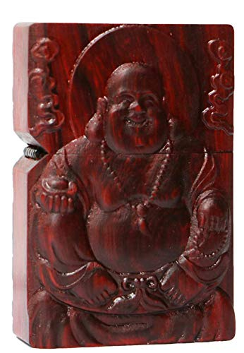 Natural Huanghuali Rosewood Carving Lighter Outer Casing for Zippo Module (Happy Laugh Maitreya Buddha 2#)