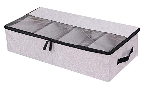 AARainbow Under Bed Clothes Shoes Storage Bins with Lids 4 Compartment,Adjustable Dividers,Under Bed Multifunction Foldable Organizer Storage Box Bins (Light Gray)