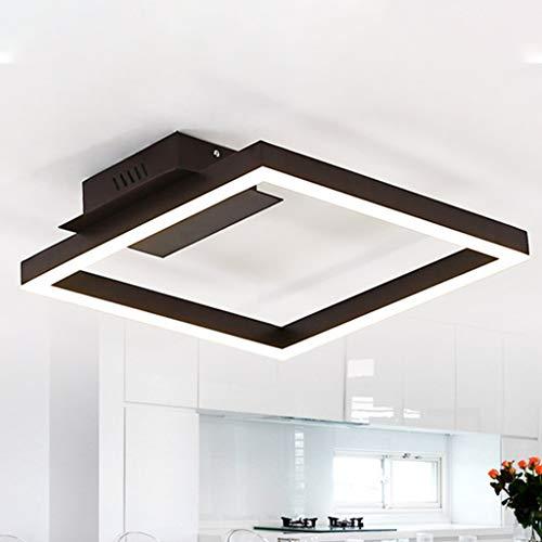 Deckenleuchte LED Dimmbar Eckige Augenschutz Hohe Lichtdurchlässigkeit Deckenlampe Acryl Aluminium Metall Schmiedeeisen Esszimmerlampe Energieeinsparung Esstischlampe Wohnzimmerlampe,6500k,42cm
