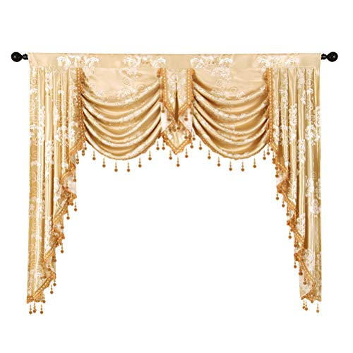 ELKCA Golden Jacquard Swag Waterfall Valance Luxury Curtain Valance for Living Room (Floral-Golden, W59 Inch, 1 Panel)