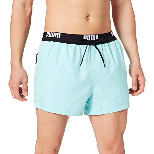PUMA Logo Men s Short Length Swimming Shorts Swim Trunks, Ángel Azul, XL para Hombre