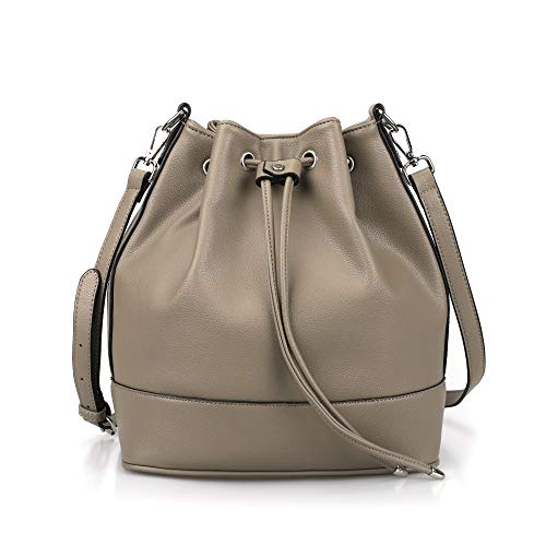 AFKOMST Drawstring Bucket Bag for Women Large Crossbody Purse and Shoulder Tote Handbags Taupe