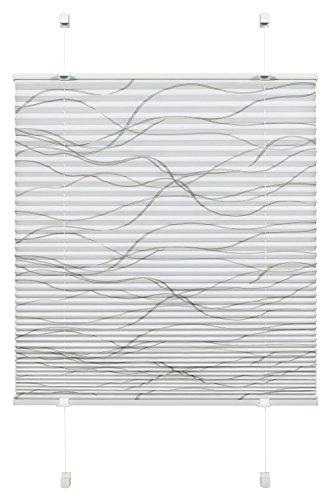 Gardinia Plissee zum Klemmen, Blickdichtes Faltrollo, Alle Montage-Teile inklusive, EASYFIX Plissee Katy Wave verspannt mit zwei Bedienschienen, Weiß, 50 x 130 cm (BxH)