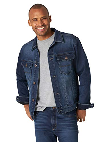 Wrangler Authentics Bonded Fleece Lined Trucker Denim Jacket Chaqueta de Jean, Oscuro Indigo, S para Hombre